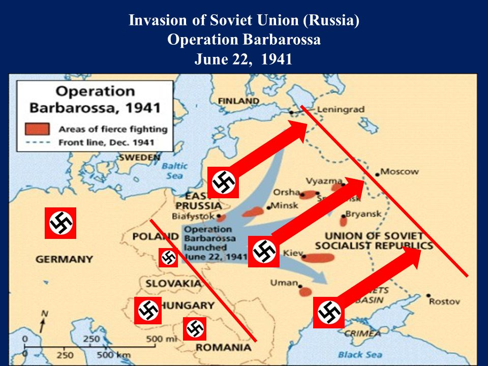 Invasion of Soviet Union (Russia) Operation Barbarossa June 22, 1941