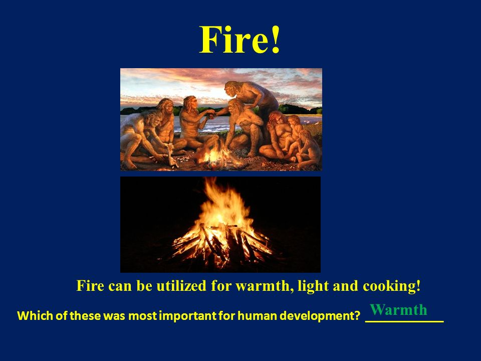 Fire can be utilized for warmth, light and cooking!