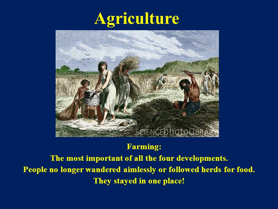 Agriculture Farming: The most important of all the four developments.