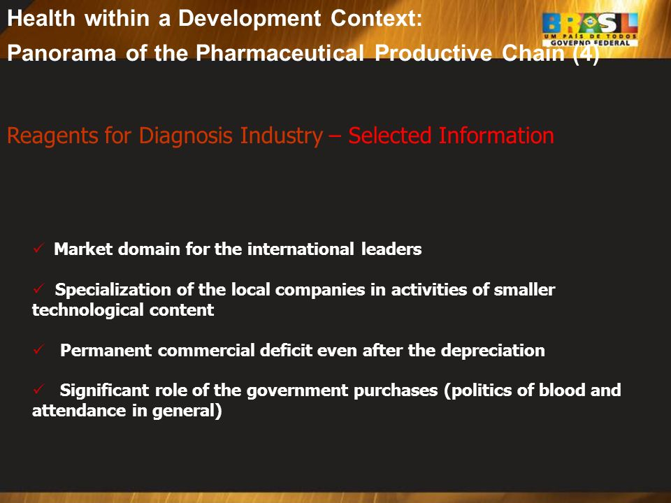 Health within a Development Context: Panorama of the Pharmaceutical Productive Chain (4)