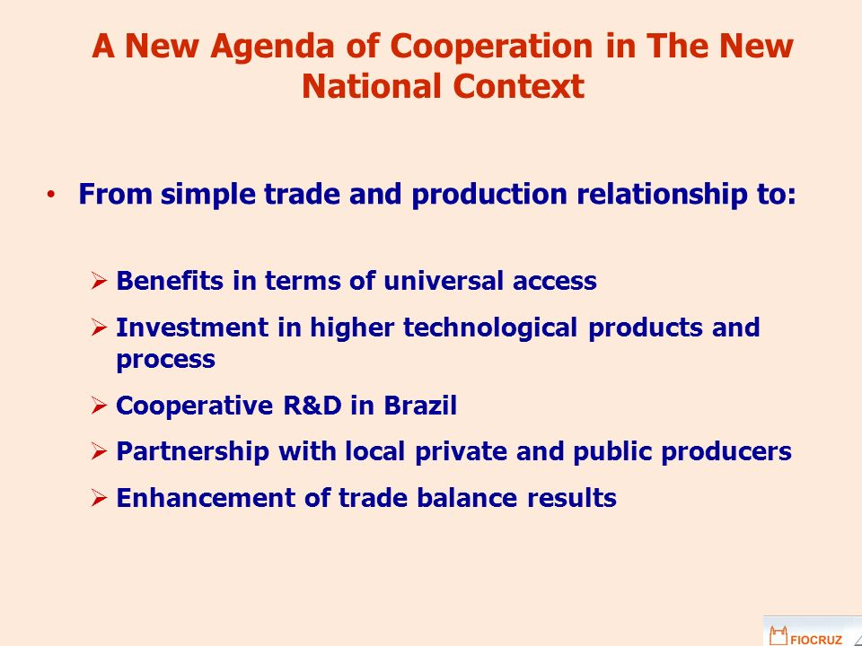 A New Agenda of Cooperation in The New National Context