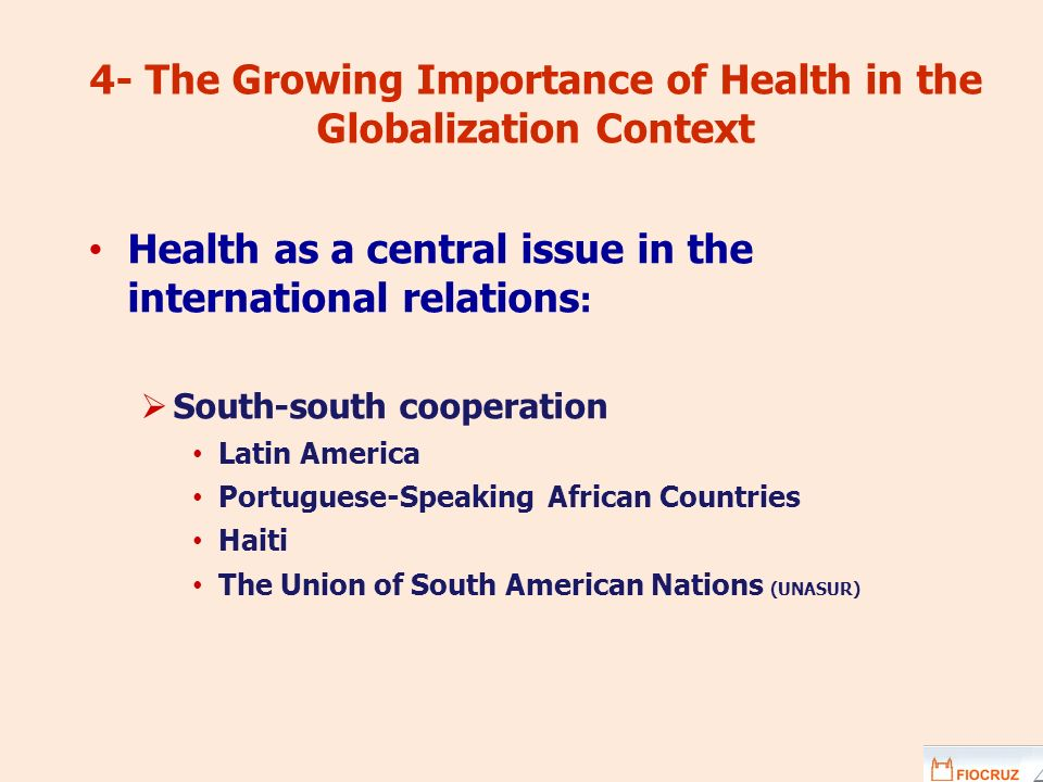 4- The Growing Importance of Health in the Globalization Context