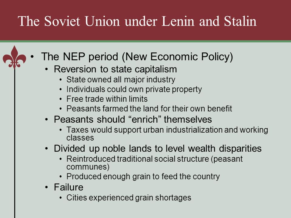 a history of the new economic policy in the soviet union The new economic policy in 1921 the bolshevik's abandoned war communism and introduced an alternative economic strategy – 'the new economic policy'.