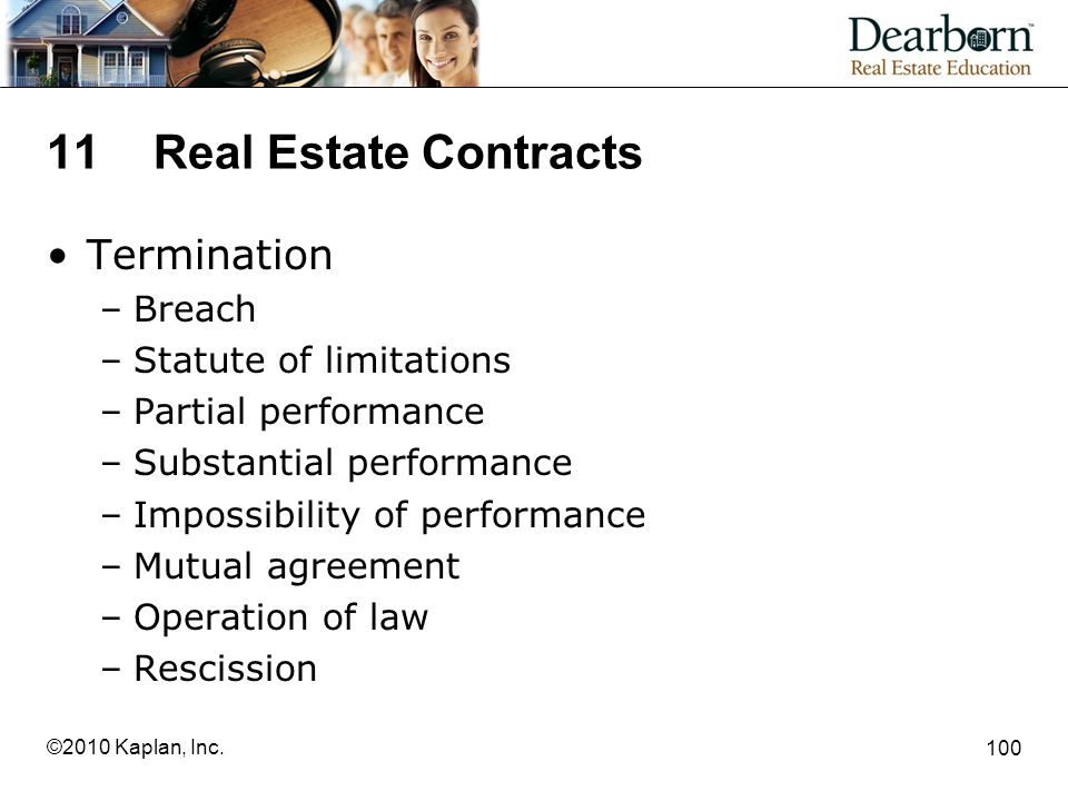 11 Real Estate Contracts Termination Breach Statute of limitations