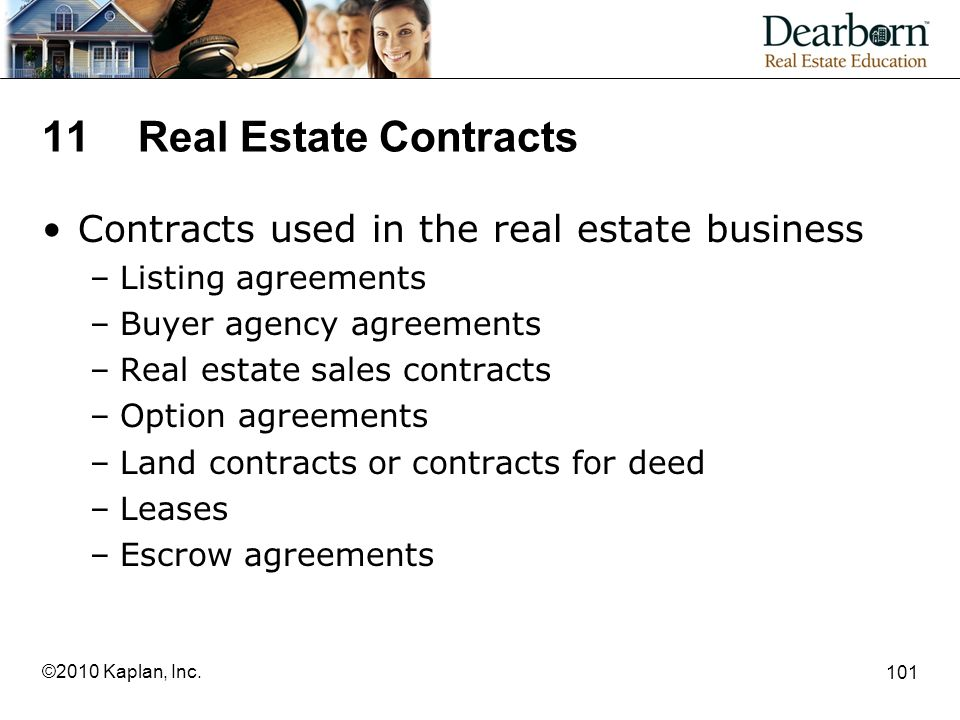 11 Real Estate Contracts Contracts used in the real estate business