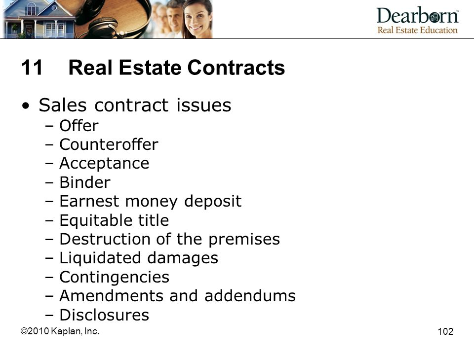 11 Real Estate Contracts Sales contract issues Offer Counteroffer