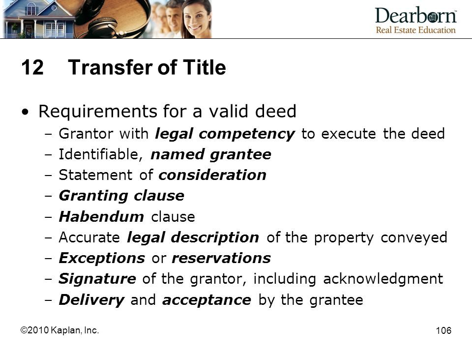 12 Transfer of Title Requirements for a valid deed