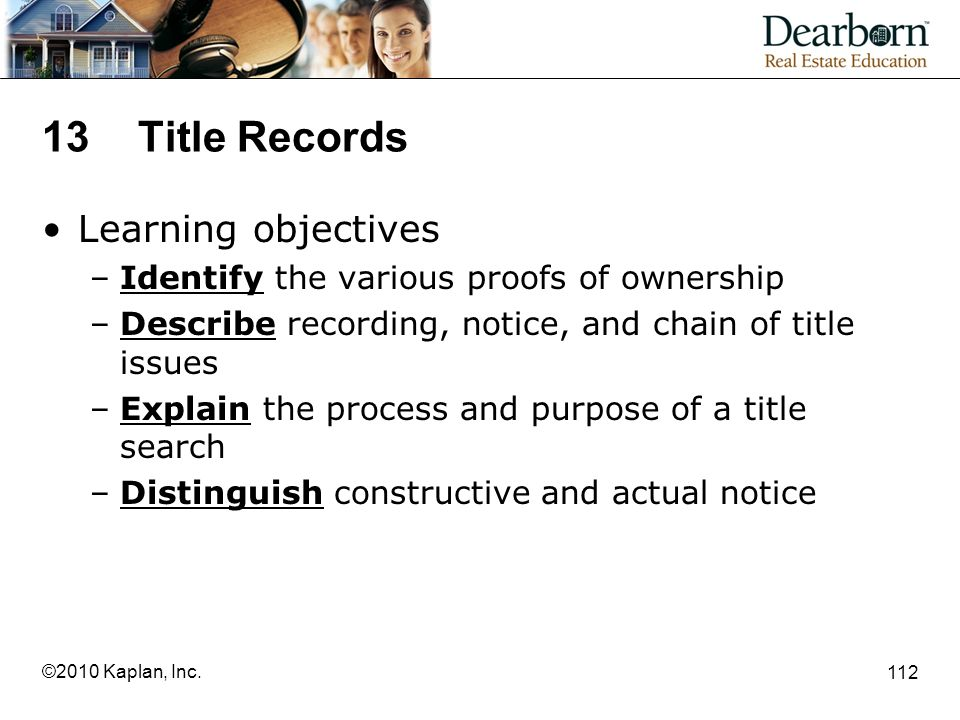 13 Title Records Learning objectives