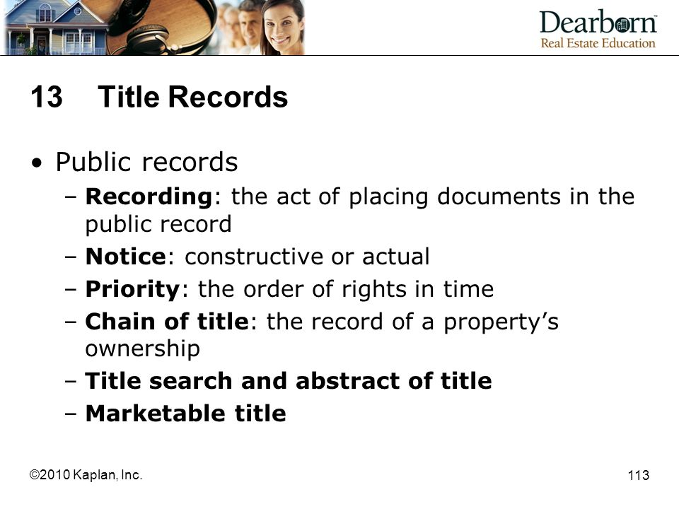 13 Title Records Public records