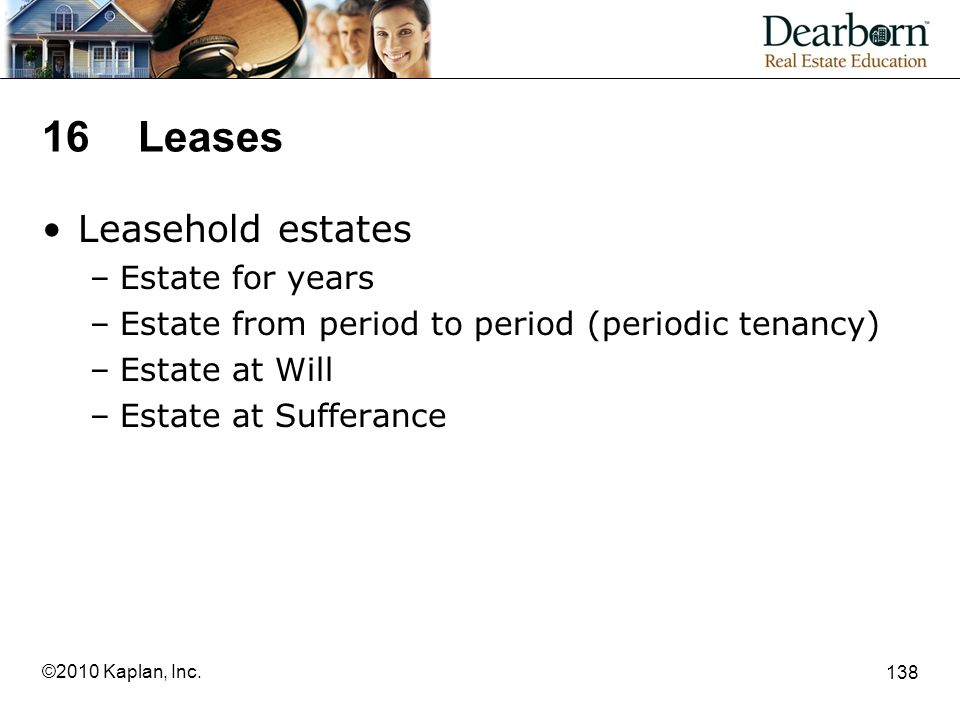 16 Leases Leasehold estates Estate for years