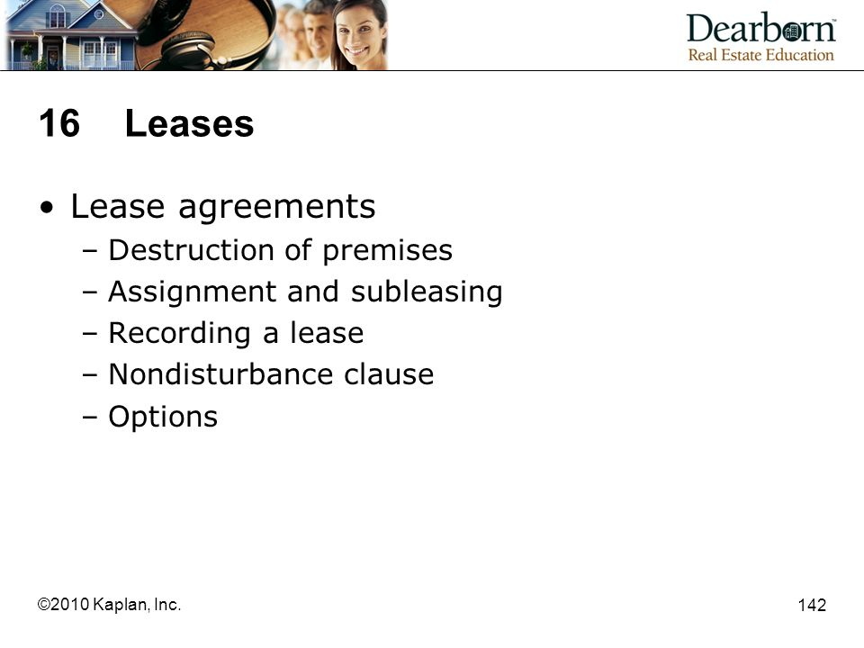 16 Leases Lease agreements Destruction of premises