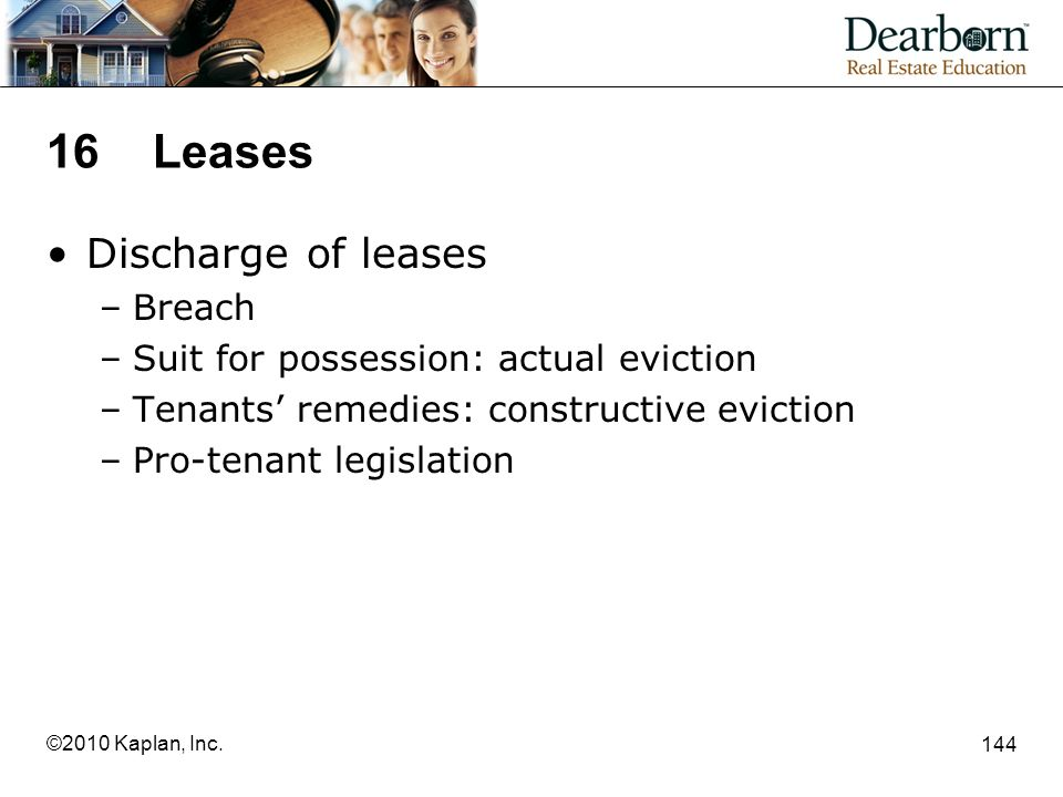 16 Leases Discharge of leases Breach