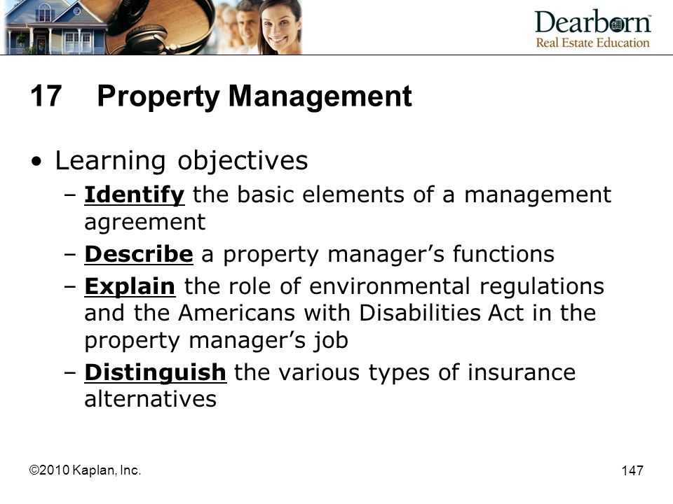 17 Property Management Learning objectives