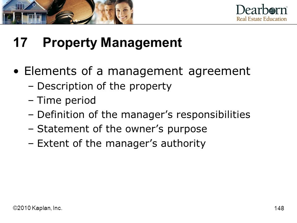 17 Property Management Elements of a management agreement
