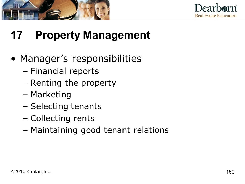 17 Property Management Manager's responsibilities Financial reports