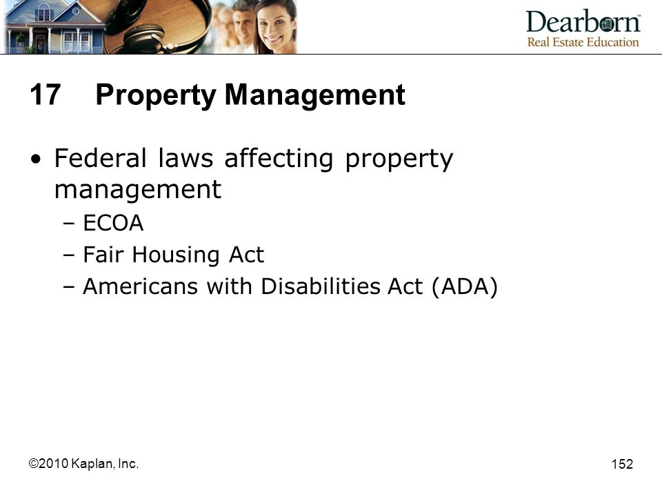 17 Property Management Federal laws affecting property management ECOA