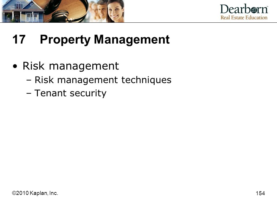 17 Property Management Risk management Risk management techniques