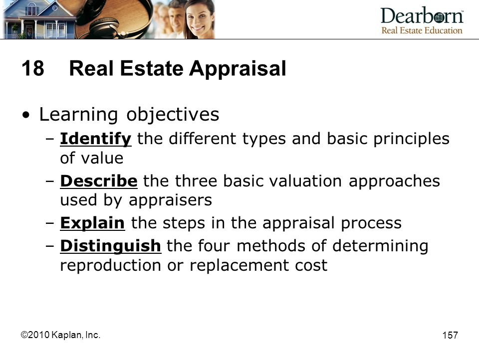 18 Real Estate Appraisal Learning objectives