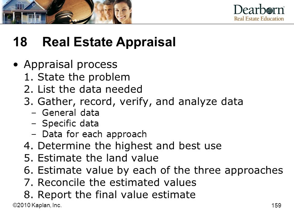 18 Real Estate Appraisal Appraisal process 1. State the problem