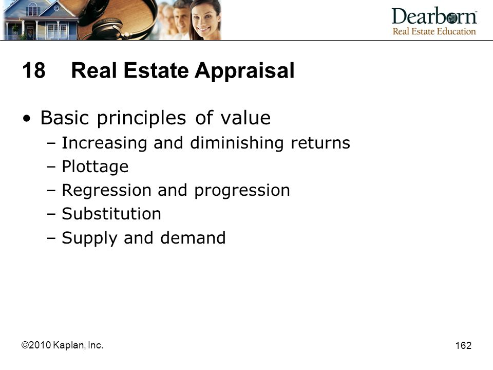 18 Real Estate Appraisal Basic principles of value