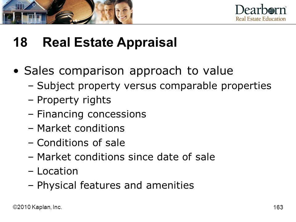 18 Real Estate Appraisal Sales comparison approach to value