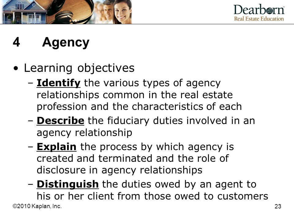 4 Agency Learning objectives