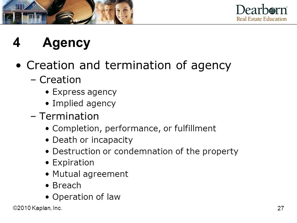 4 Agency Creation and termination of agency Creation Termination