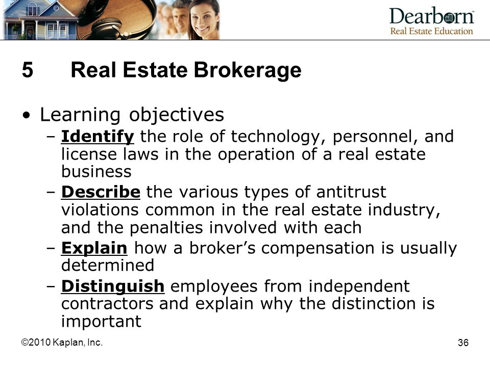 5 Real Estate Brokerage Learning objectives