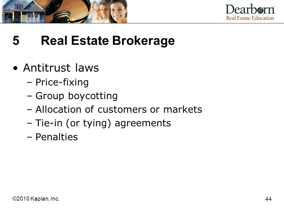 5 Real Estate Brokerage Antitrust laws Price-fixing Group boycotting