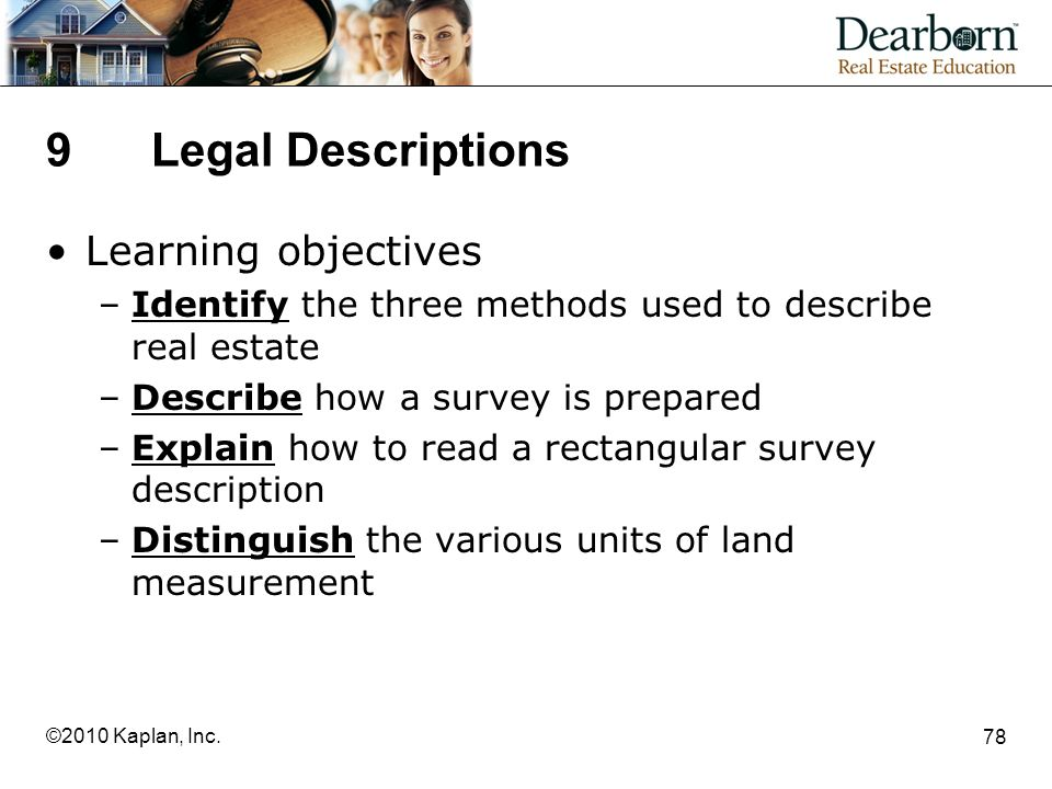 9 Legal Descriptions Learning objectives
