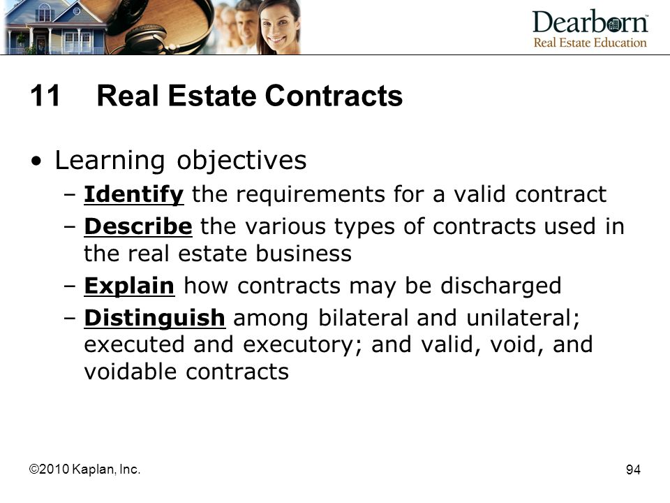 11 Real Estate Contracts Learning objectives