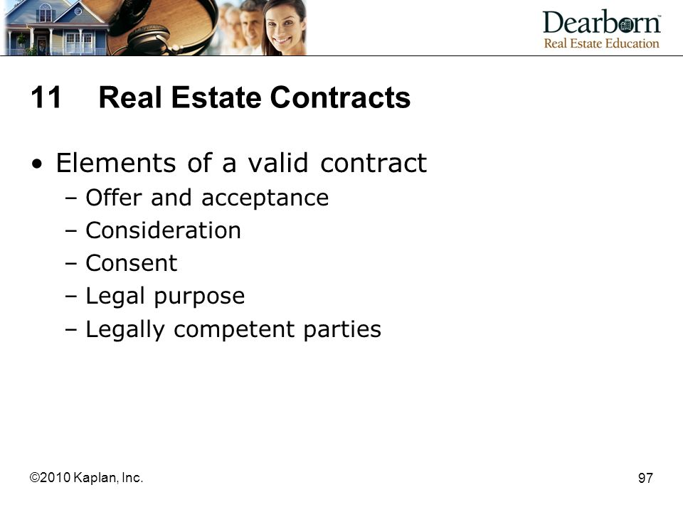 11 Real Estate Contracts Elements of a valid contract