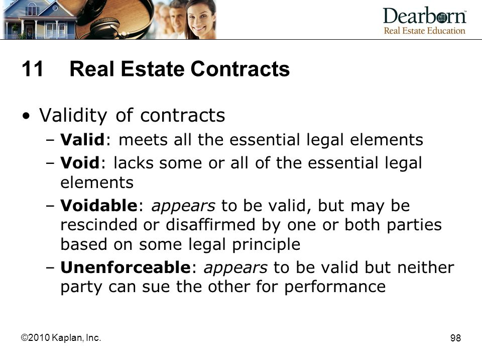 11 Real Estate Contracts Validity of contracts