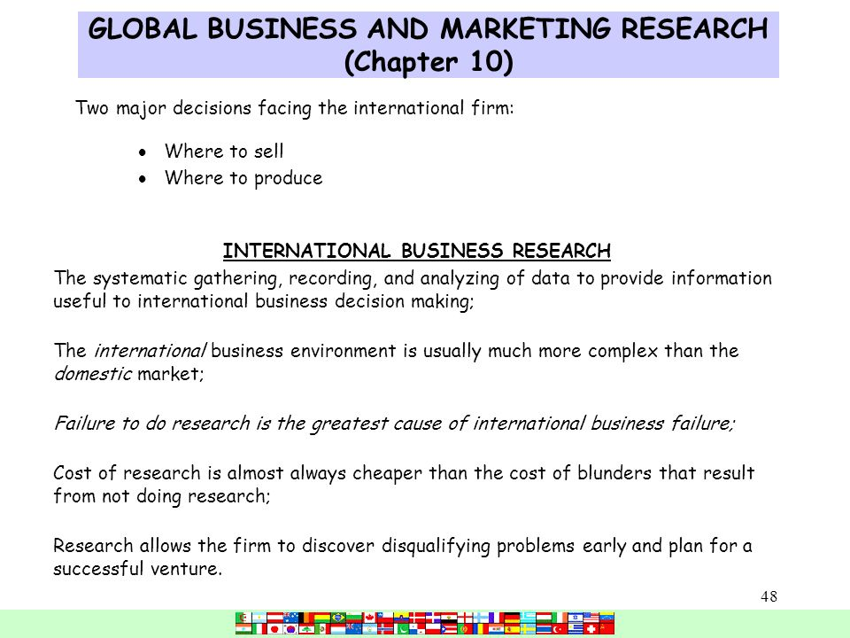 global and domestic marketing decisions for Ge global exchange services  the basic marketing math that is needed to  help make marketing decisions  market focus: domestic versus international.