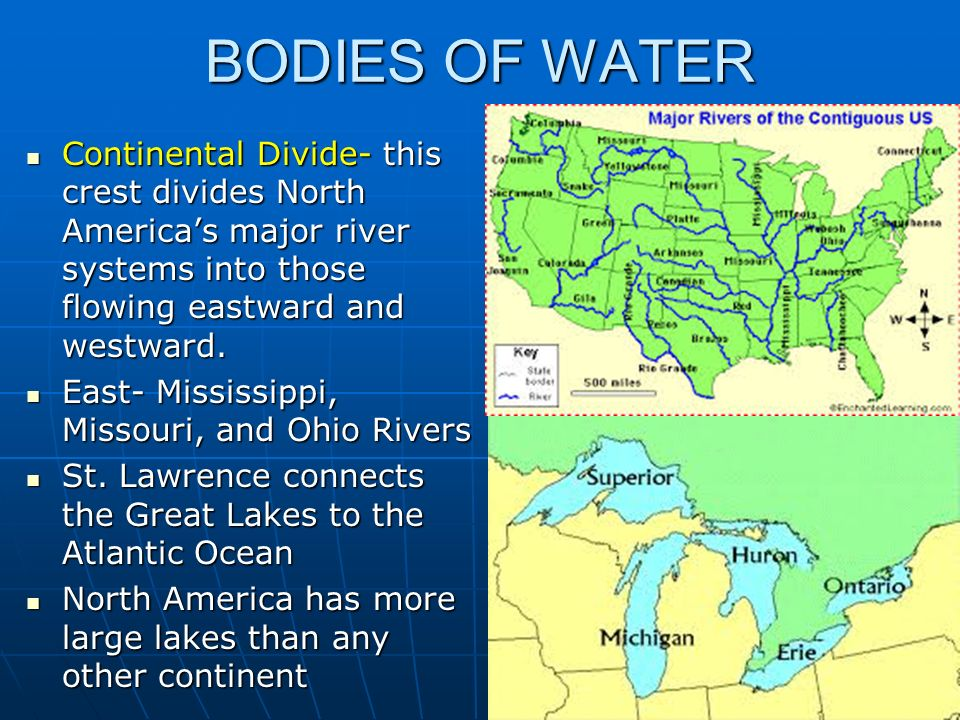 Bell ringer take out us and canada blank map ppt video online bodies of water continental divide this crest divides north americas major river systems into those sciox Choice Image