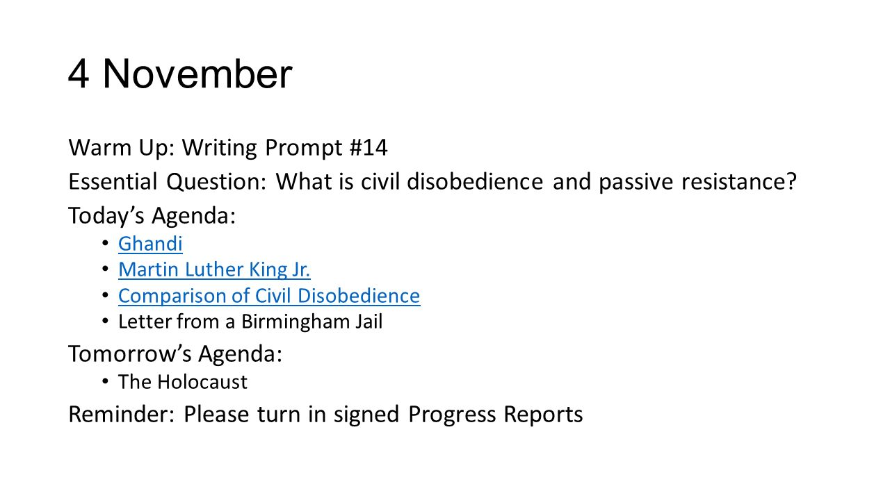 "civil disobedience and letter from birmingham jail essay View homework help - comparison contrast assignment from science 101 at druid hills high school ""civil disobedience"" and ""letter to birmingham jail"" comparison/contrast assignment."