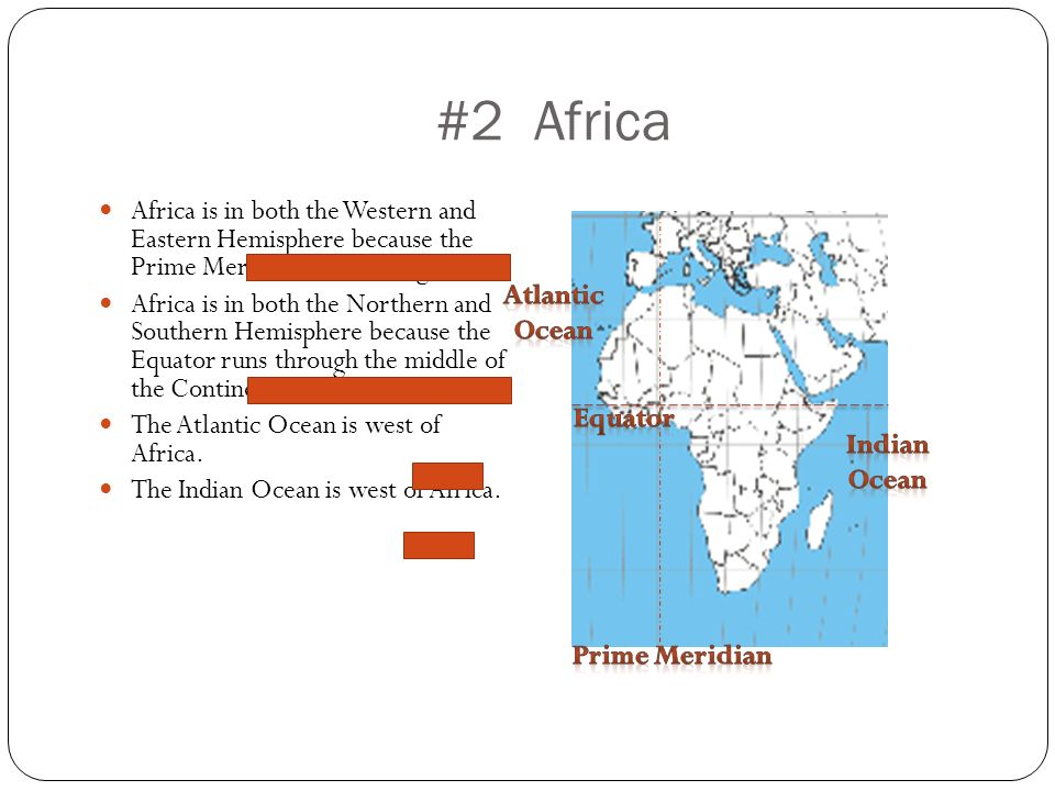 Geographic knowledge gle 3 5 ppt video online download 2 africa africa is in both the western and eastern hemisphere because the prime meridian sciox Choice Image