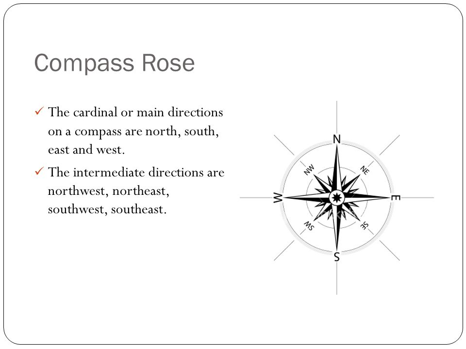 Compass Rose The cardinal or main directions on a compass are north, south, east and west.