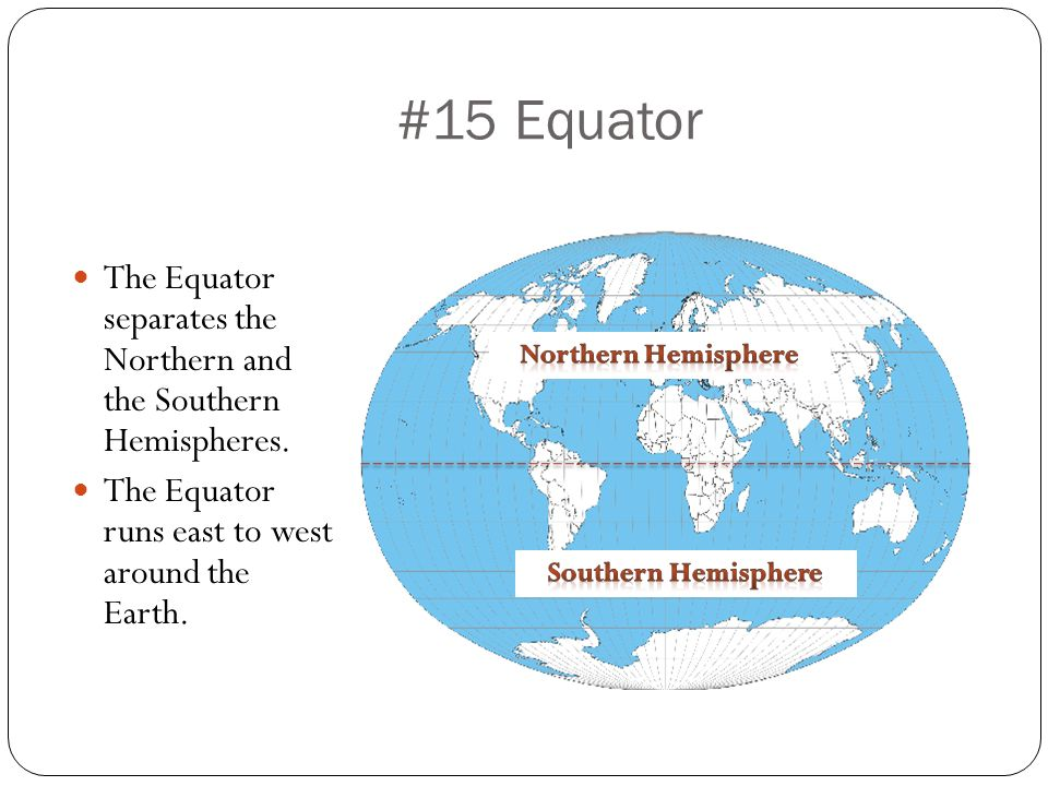 #15 Equator The Equator separates the Northern and the Southern Hemispheres. The Equator runs east to west around the Earth.