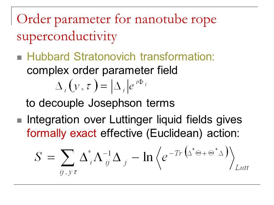 Order parameter for nanotube rope superconductivity