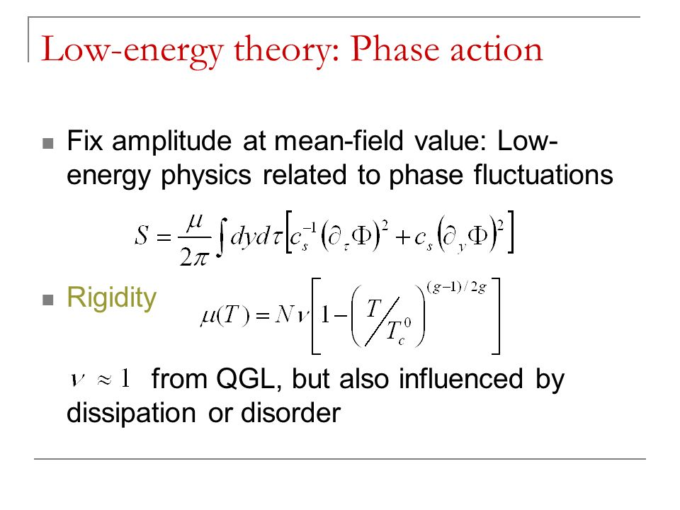 Low-energy theory: Phase action