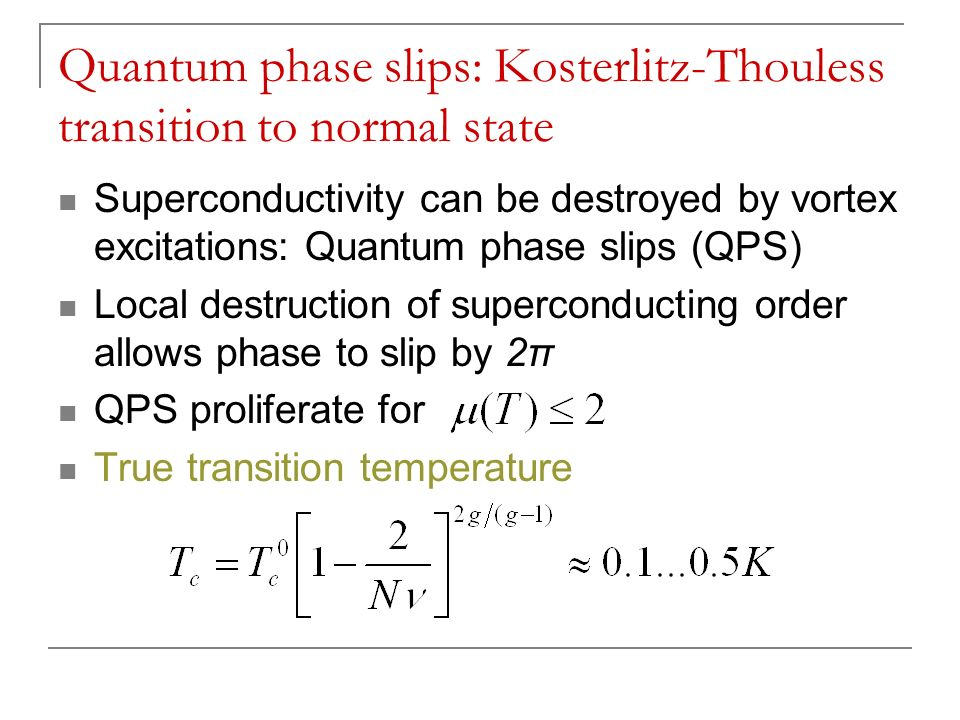 Quantum phase slips: Kosterlitz-Thouless transition to normal state