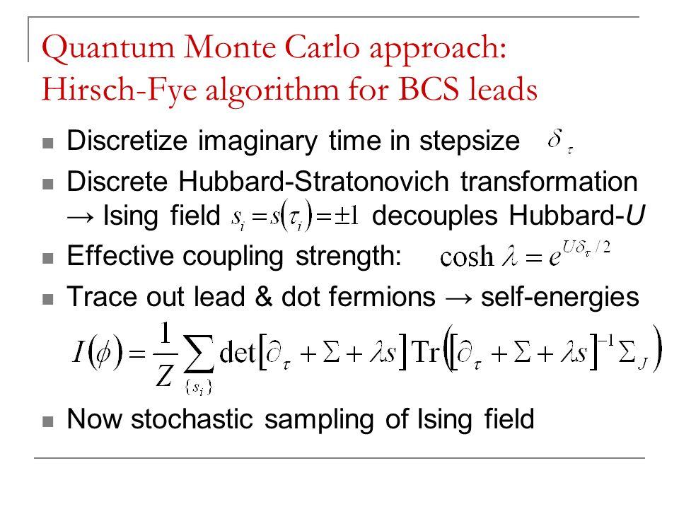 Quantum Monte Carlo approach: Hirsch-Fye algorithm for BCS leads