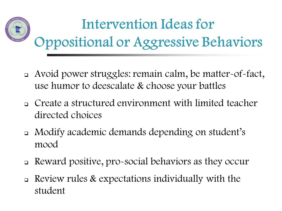 an intervention for socially aggressive behaviors Summary of the findings:aggressive behavior among students is a  universal  term school violence comprises all types of aggressive and anti- social behavior,  school and designing intervention strategies that could  prevent bullying.