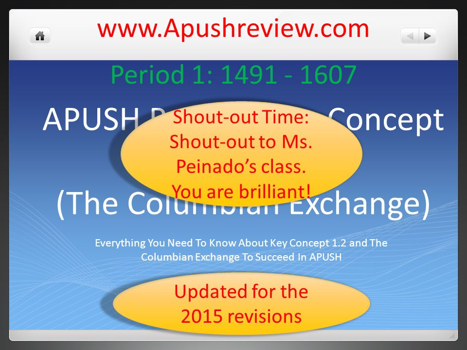 APUSH Review: Key Concept 1 2 (The Columbian Exchange)