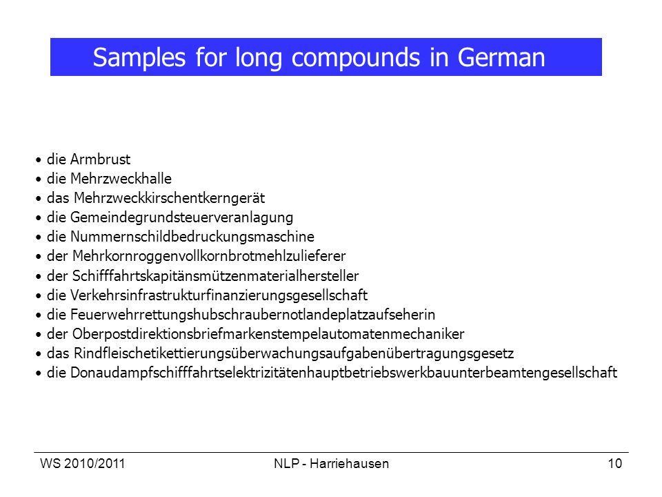 Samples for long compounds in German