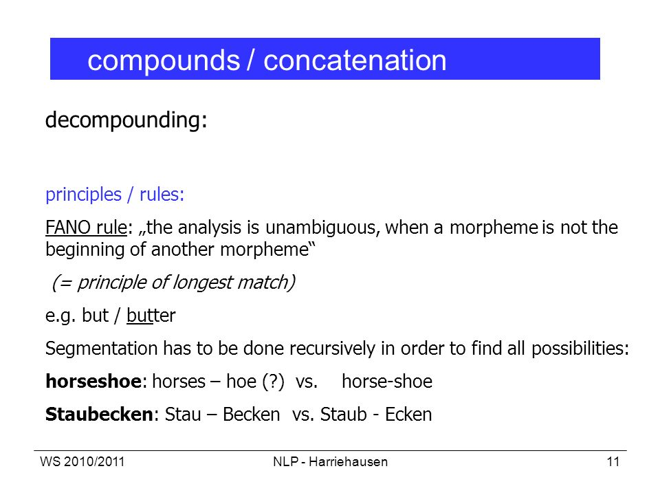 compounds / concatenation