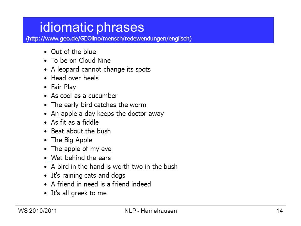 idiomatic phrases (http://www. geo