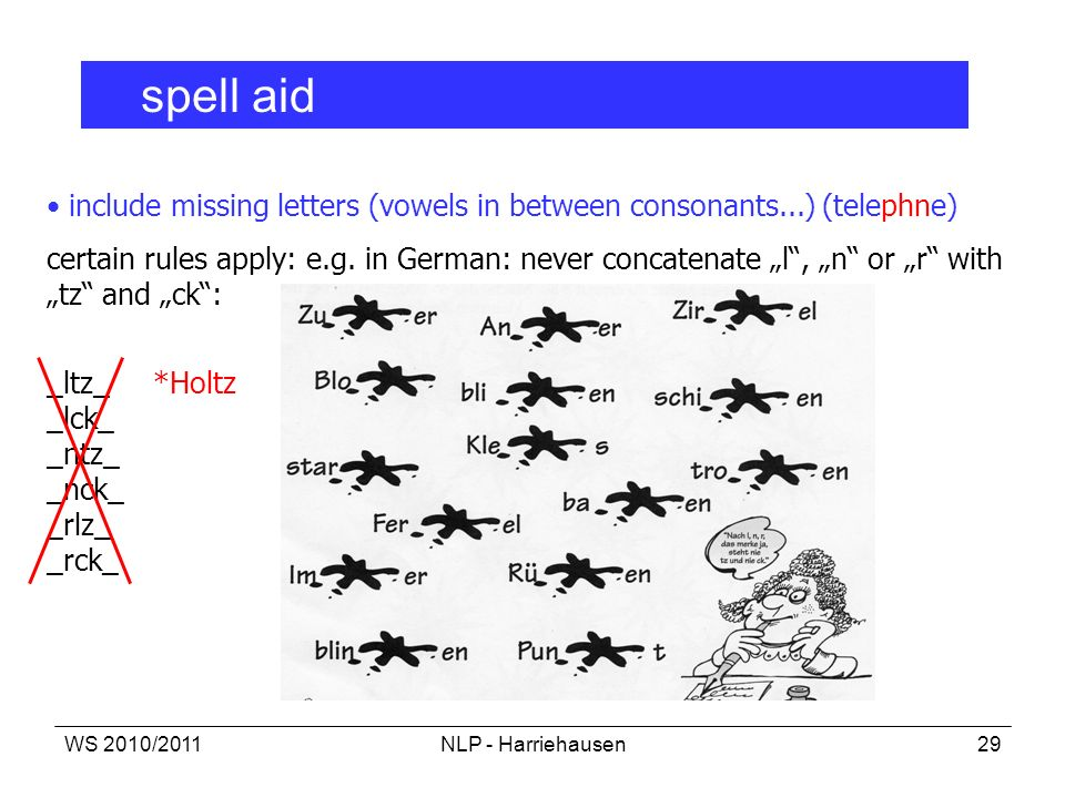 spell aid include missing letters (vowels in between consonants...) (telephne)