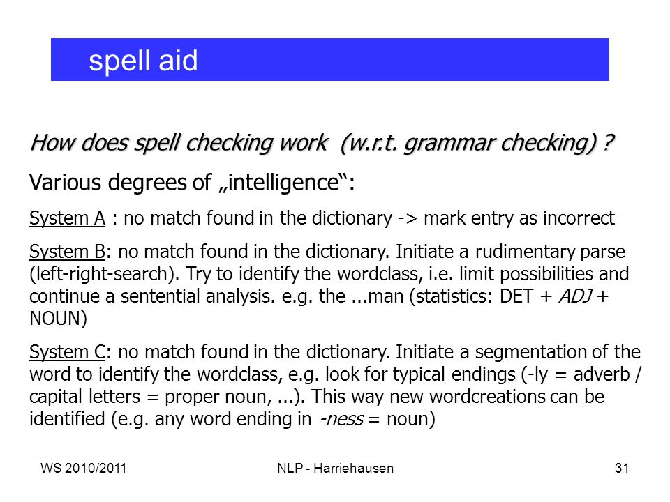 How does spell checking work (w.r.t. grammar checking)